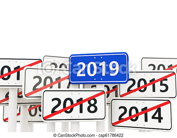 2019 New year symbol on a road sign - csp61786422