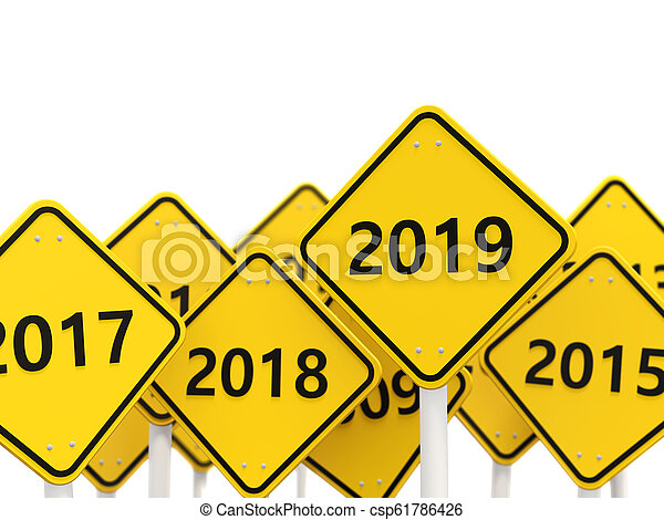 2019 New year symbol on a road sign - csp61786426