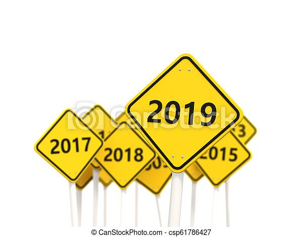 2019 New year symbol on a road sign - csp61786427