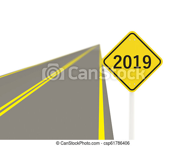 2019 New year symbol on a road sign - csp61786406