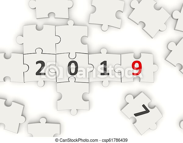 2019 New year symbol on puzzle - csp61786439