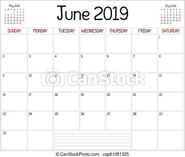 Calendrier Mensuel Juin 2019.2019 Planificateur Juin Annee