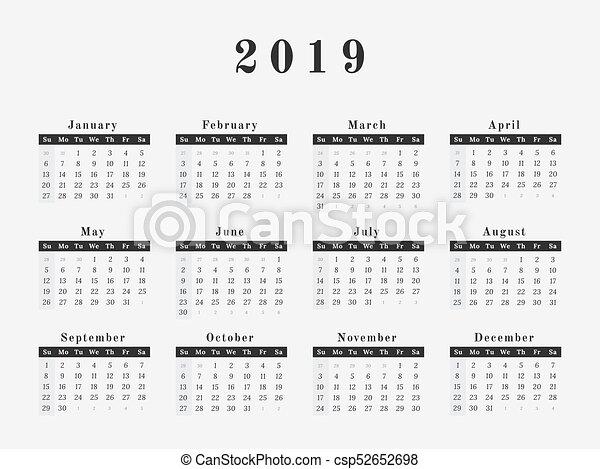 2019 year calendar horizontal design csp52652698