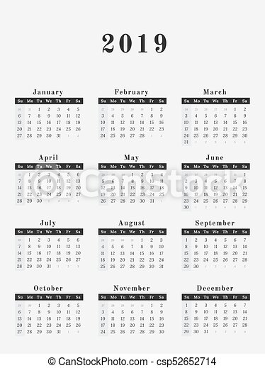 2019 year calendar vertical design csp52652714