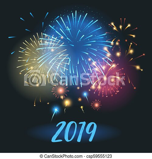 vector realistic happy new 2019 year greeting card template with colorful fireworks