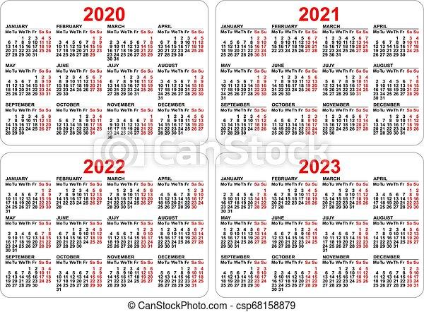 2022 2023 Pocket Calendar.2020 2021 2022 2023 Years Set Pocket Calendar Grid Vector Template Illustration Canstock