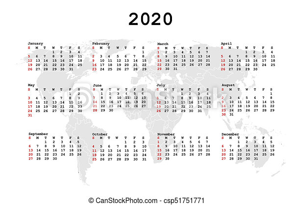World Calendar.2020 Calendar For Agenda With World Map