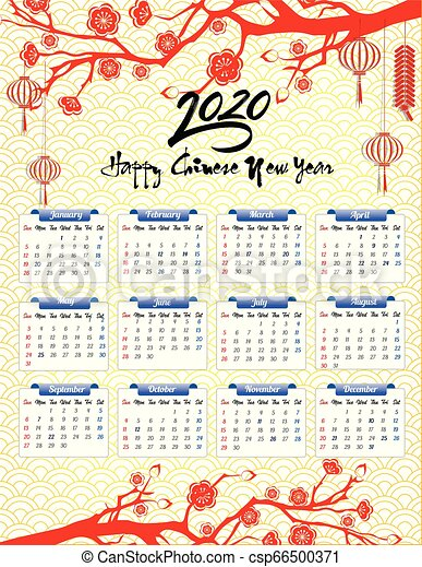 Calendar Chinese New Year 2020 2020 calendar for new year of mouse.