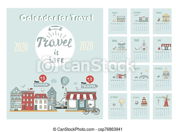 2020 Calendar of Travel. Template with cartoon City Skyline. Vector hand drawn Illustration. Template for Print. Week starts from Sunday. - csp76863941