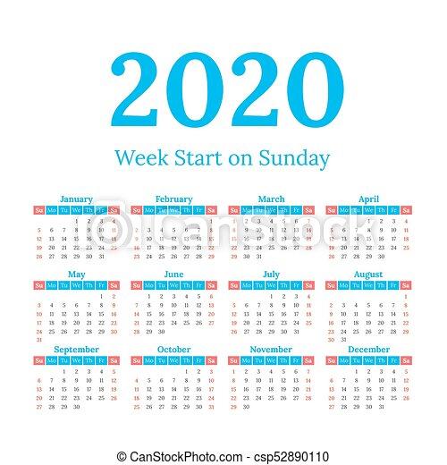 2020 Sunday Calendar 2020 calendar start on sunday. Simple classic style 2020 year