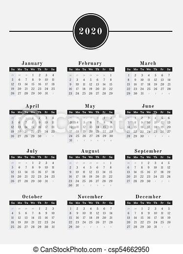 Calendario 2020 Orizzontale.2020 Calendario Disegno Verticale Anno Illustrazione