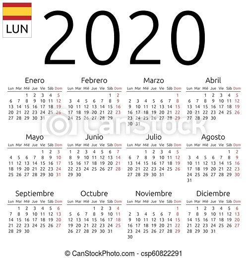 Calendario Del Ano 2020 En Espanol.2020 Calendario Espanol Lunes