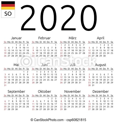 Calendrier Allemand 2020.2020 Calendrier Dimanche Allemand