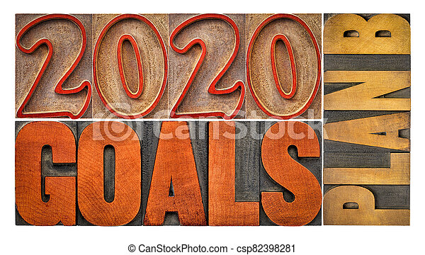 2020 goals plan B - word abstract in wood type - csp82398281