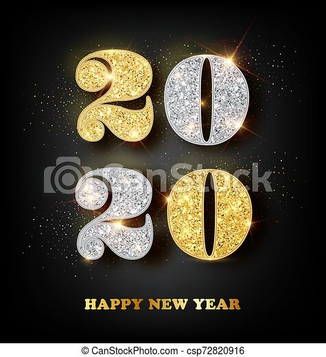 Merry Christmas Images In Gold And Silver 2020 2020 happy new year greeting card with gold and silver numbers on