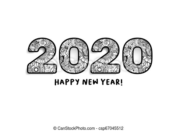 Happy New Year Clipart 2020.2020 Lettering Happy New Year Greeting Or For Calendar Front Cover