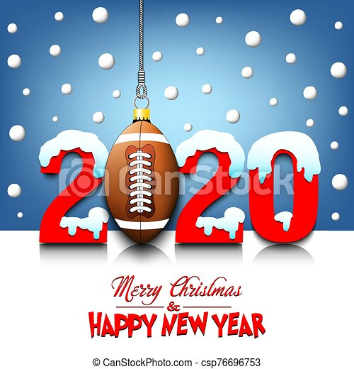 2020 New Year and football ball hanging on strings - csp76696753