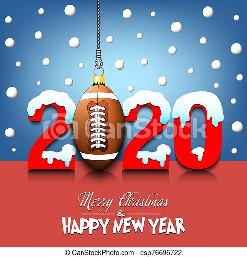 2020 New Year and football ball hanging on strings - csp76696722