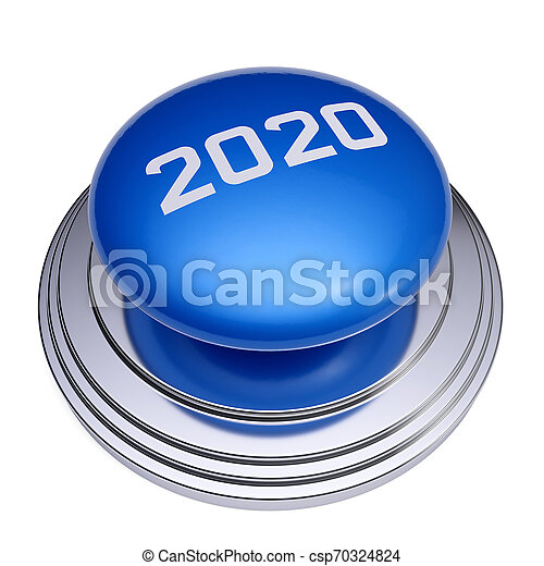 2020 New Year blue button isolated - csp70324824