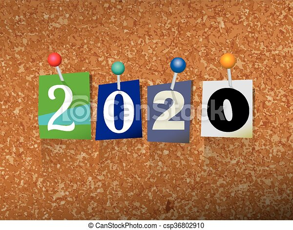 2020 Pinned Paper Concept Illustration - csp36802910