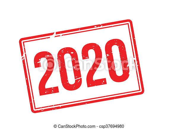 2020 red rubber stamp on white - csp37694980