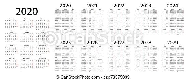 Spanish Calendar 2022.2020 Spanish Calendar Vector Illustration Template Year Planner Calendar Spanish 2020 2021 2022 2023 2024 2025 2026 Canstock