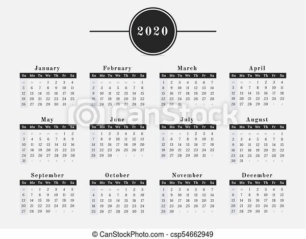 Calendar Year 2020.2020 Year Calendar Horizontal Design