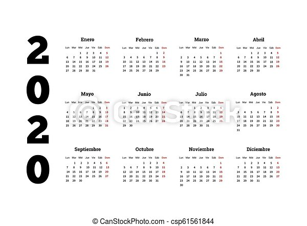 Calendario 2020 Editable Illustrator.2020 Year Simple Calendar In Spanish Isolated On White