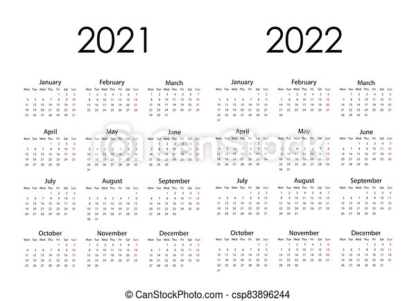 2022 Calendar With Weeks.2021 2022 Calendar Week Starts Monday Vector Illustration Flat Design Vector Illustration Flat Design 2021 2022 Canstock