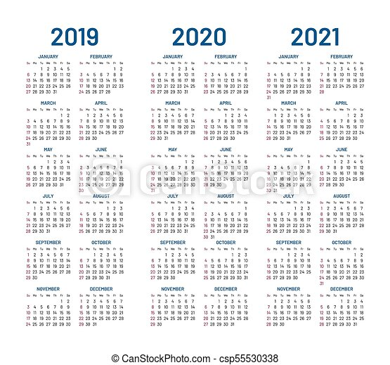 2021, année, 2019, calendrier, 2020. 2021, 2020, template