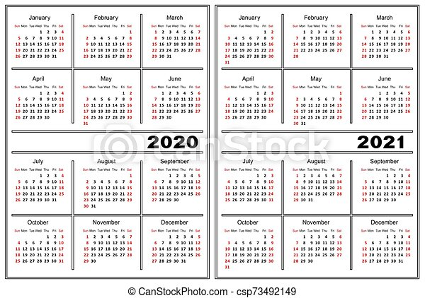 2021, calendrier, 2020, gabarit. 2021., calendrier, color., 2020