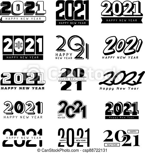 Christmas Party Near Me 2021 2021 Numbers Christmas Party Decoration Logo Hand Lettering Elements Recent Vector Icons Collection New Year 2021 Holiday Canstock
