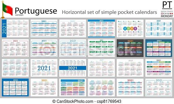 2021, portugais, poche, calendrier, horizontal. Vecteur, mille