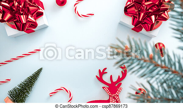 Christmas Ribbon 2021 2021 White Gift Box With Red Ribbon New Year Balls Candy And Sparkling Lights In Christmas Composition On White Background Canstock