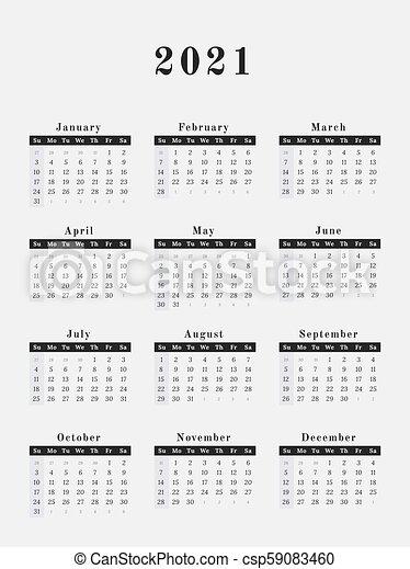 2021 year calendar vertical design. Calendar for year 2021 vector