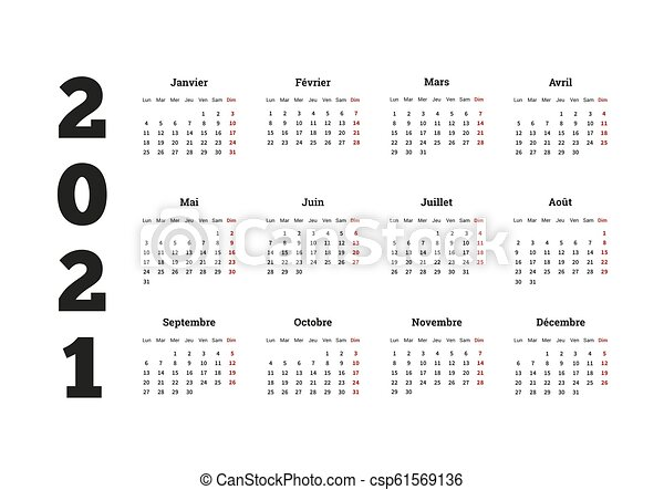 2021 year simple calendar on french language, isolated on white
