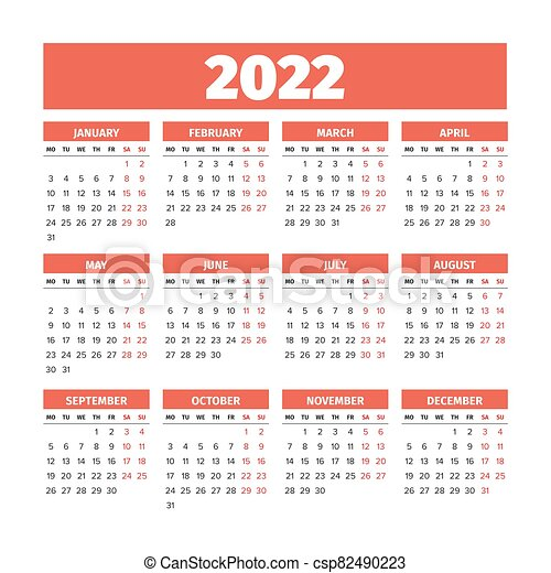 2022 Calendar Monday Start.2022 Calendar With The Weeks Start On Monday 2022 Simple Calendar With The Weeks Start On Monday Canstock