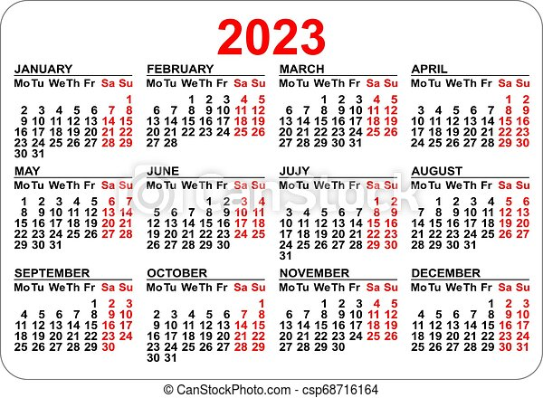 2023 2022 Calendar.2023 Calendar Template Isolated On White Simple Horizontal Grid Canstock