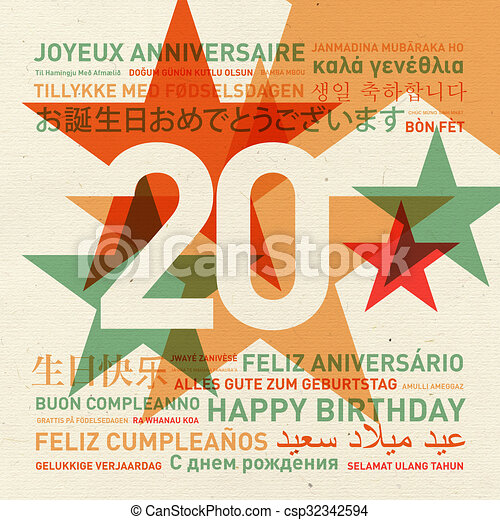 20th Anniversary Happy Birthday Card From The World 20th