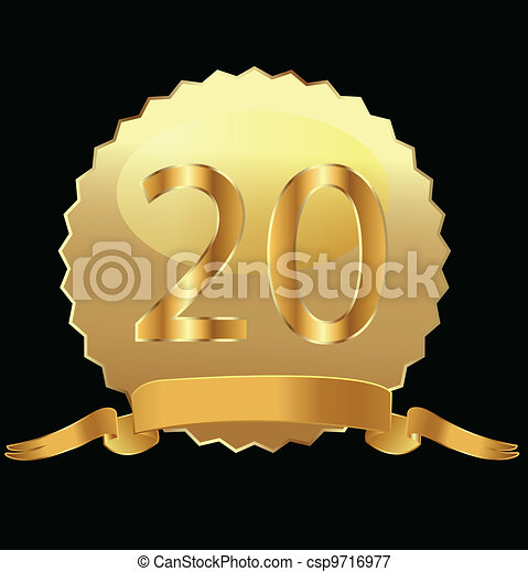 20th anniversary in gold seal  - csp9716977