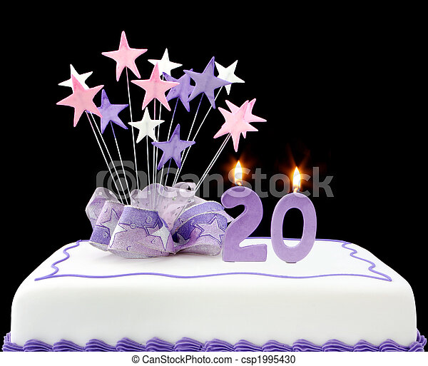 Groovy 20Th Cake Fancy Cake With Number 20 Candles Decorated With Birthday Cards Printable Benkemecafe Filternl