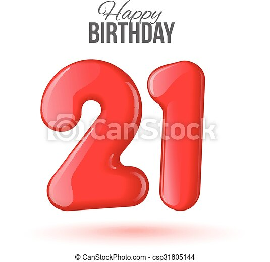 21 Birthday Greeting Card With Numbers