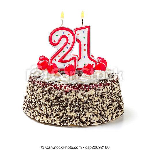 21 Brennender Zahl Geburtstagskuchen Kerze