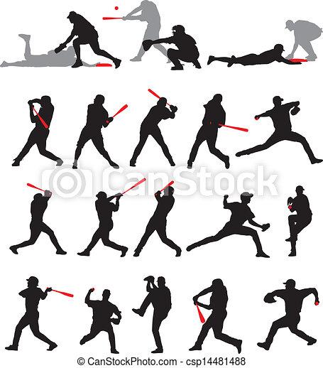 21 detail baseball poses silhouette - csp14481488