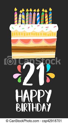 jarig 21 21, eenentwintig, jarig, jaar, taart, feestje, kaart, vrolijke  jarig 21