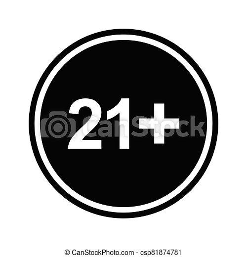 21 plus icon. black vector 21 + plus sign - csp81874781
