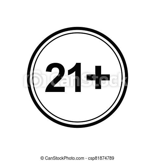 21 plus icon. black vector 21 + plus sign - csp81874789