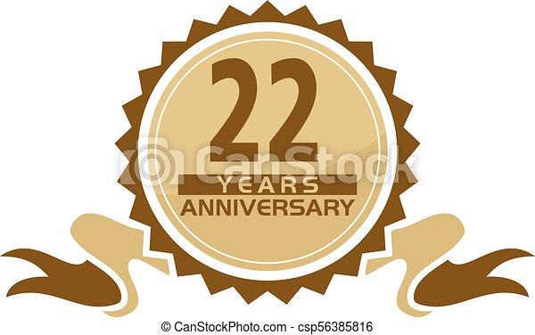 22 years ribbon anniversary