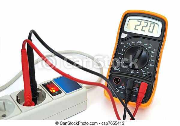 220v voltage on display of multimeter - csp7655413