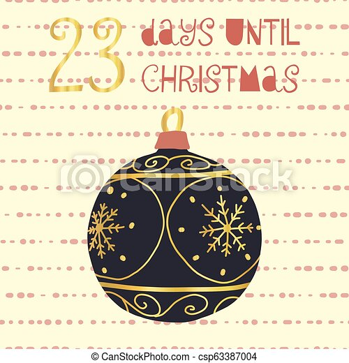 Days Until Christmas Countdown.23 Days Until Christmas Vector Illustration Christmas Countdown Twenty Three Days Til Santa Vintage Scandinavian Style Hand Drawn Ornament Holiday